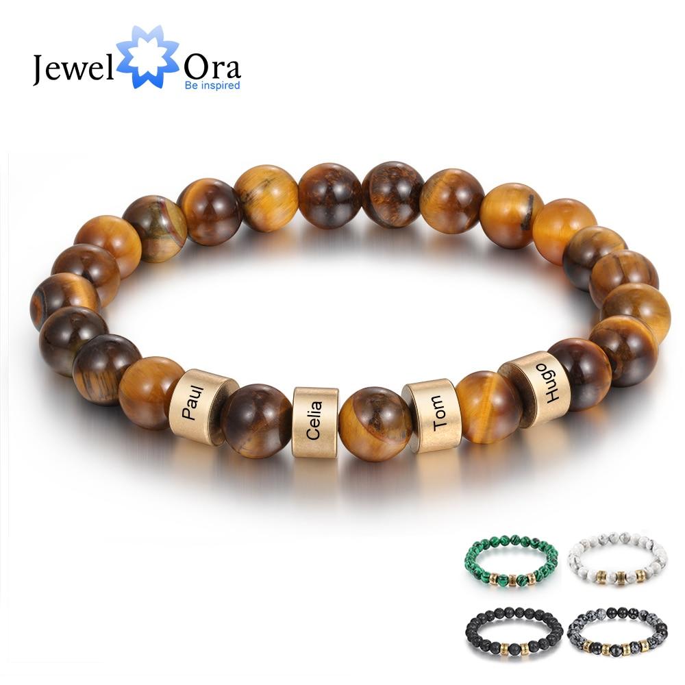 Personalisierte Name Gravur Männer Armband Kunden Lava Tiger Eye Stein Perlen Armbänder Handgemachten Schmuck Geschenke für Freund