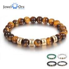 Pulsera personalizada con grabado de nombre para hombre, pulsera personalizada con cuentas de piedra de ojo de tigre de Lava, regalos de joyería artesanal para novio