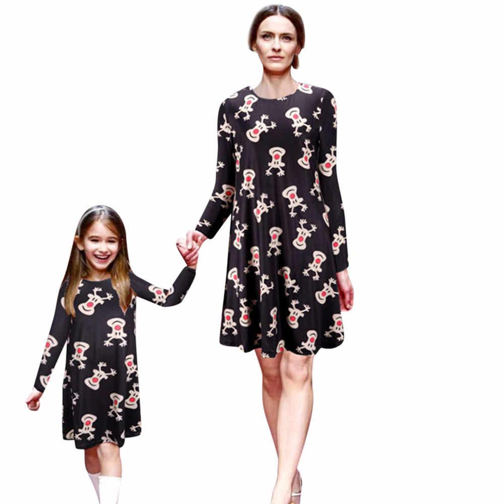 Mommy & Me คริสต์มาสชุดเดรสผู้หญิงการ์ตูนสัตว์พิมพ์ชุดครอบครัวเสื้อผ้าแขนยาว O ชุดคอ Vestidos #38