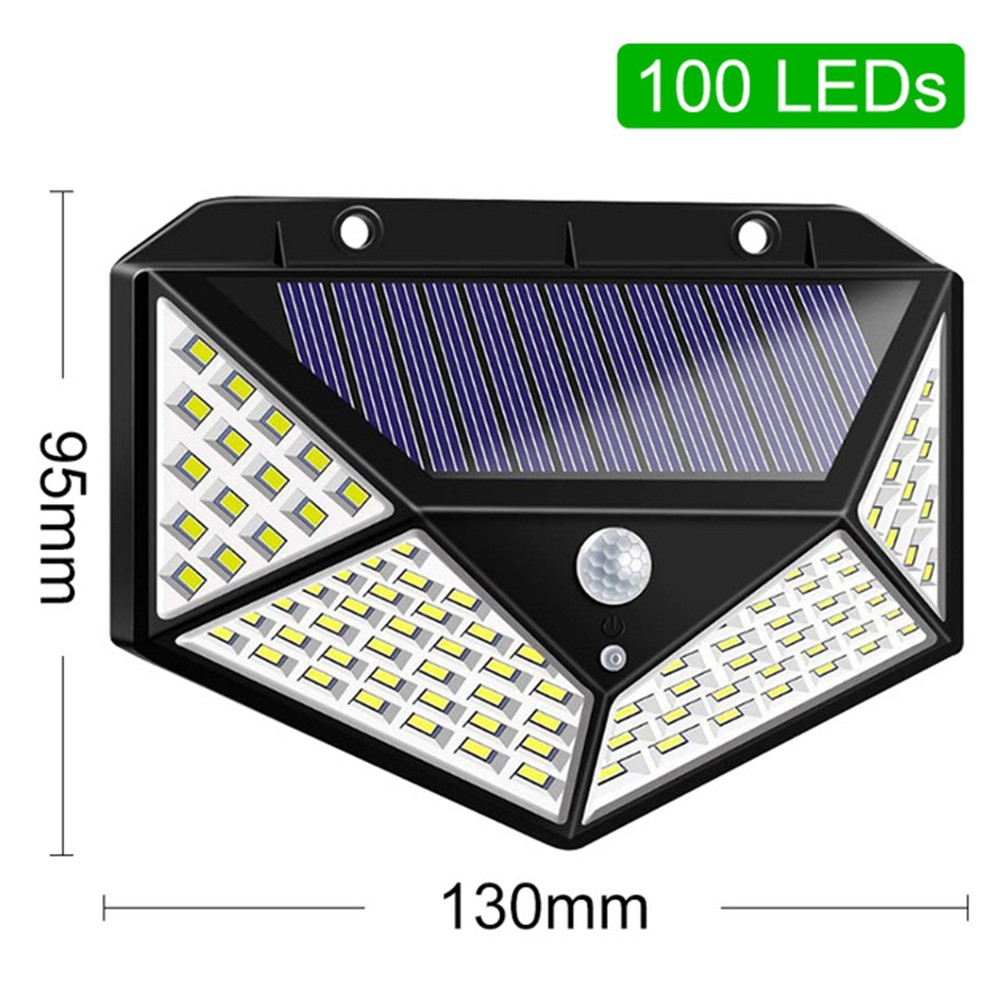 1-4pcs 4-Side 100 Led Luz Solar Light Solar Powered Sunlight Waterproof 100 LED Outdoor Lamp PIR Motion Sensor Solar Wall Lamps