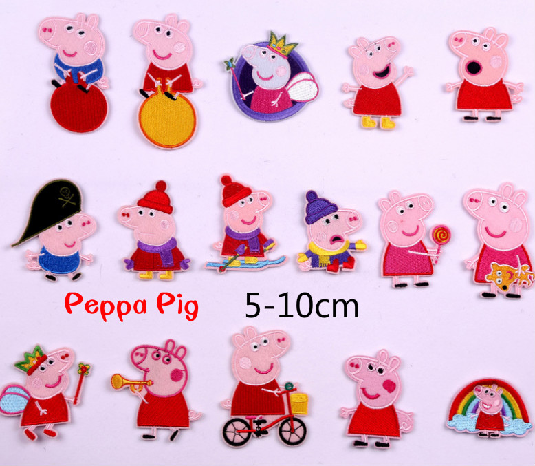 Peppa Pig On Patch Clothing Embroidered Sewing Applique Sew On Fabric Badge Apparel Accessories  Sticker Cartoon Decorative