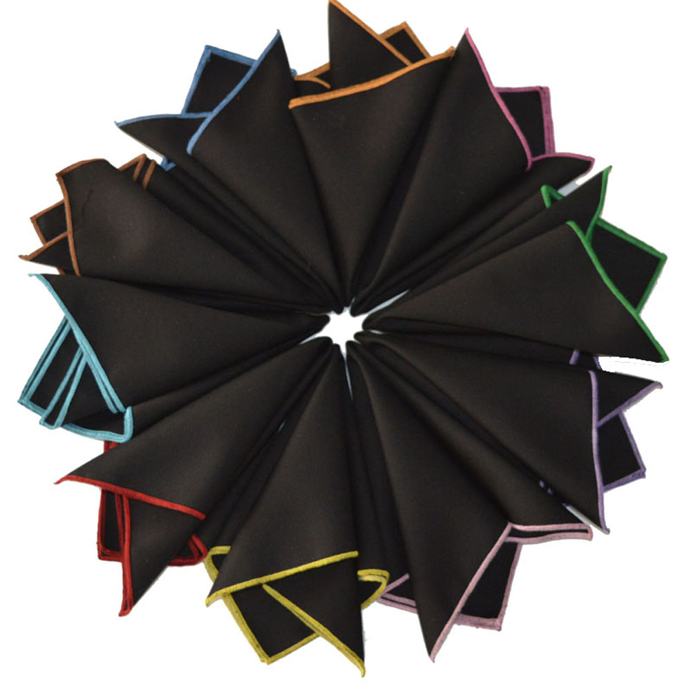 Men Cotton Black Solid Candy Color Edge Wedding Party Pocket Square Handkerchief