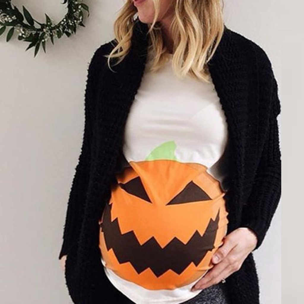 Women Maternity Blouse Short Sleeve Pregnant Maternity Pumpkin Face Printed Tops Halloween Blouse Casual Pregnancy Clothes M850#