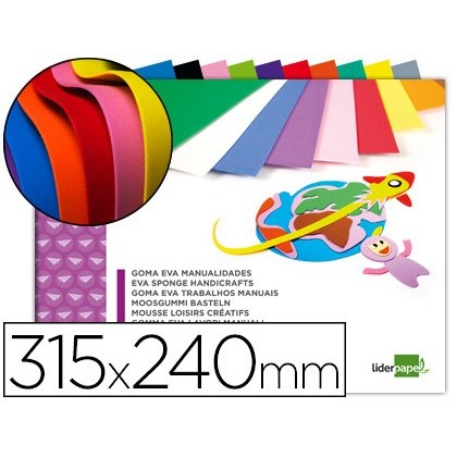 NOTEPAD CRAFTS LIDERPAPEL EVA RUBBER 240X315MM 10 SHEETS ASSORTED COLORS