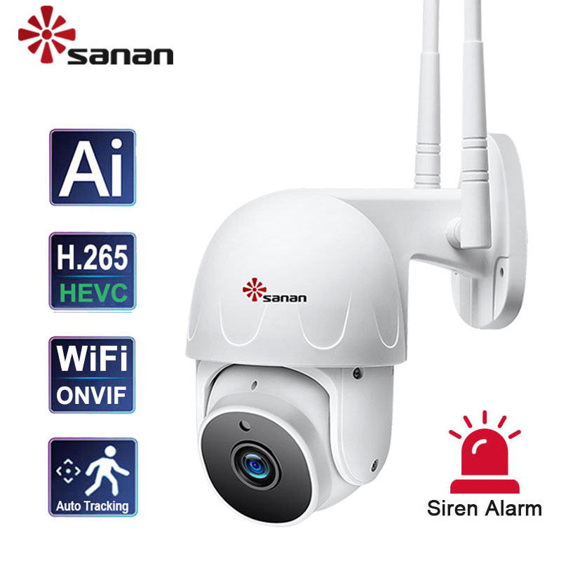 SANAN 1080P PTZ IP Camera Outdoor WiFi Wireless Auto Tracking Humanoid Sound Alarm Onvif Surveillance Cameras 4X Zoom 30M Night