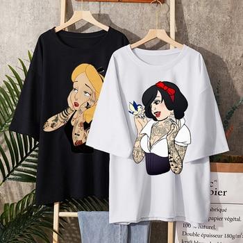 Alice In Wonderland T Shirt Women Cotton Tops Black Alice Snow White Princess Print Casual Short Sleeve Gothic T-shirt Harajuku 1