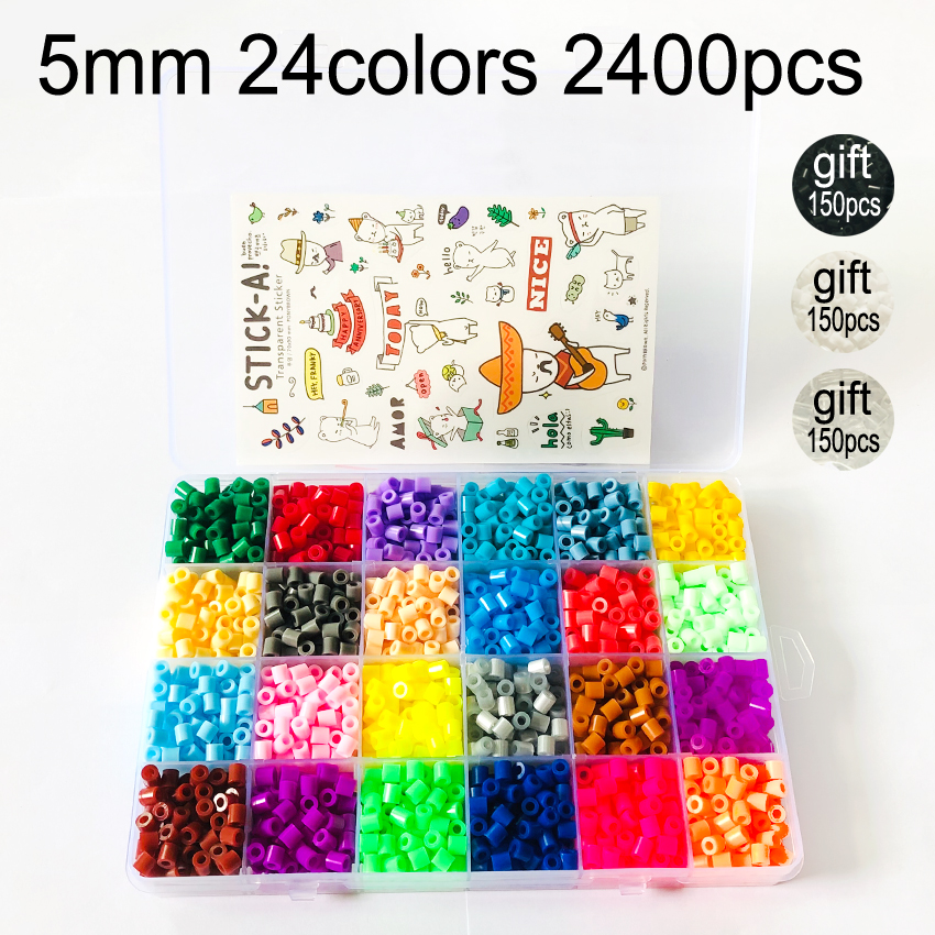 2400pcs/box 24 Colors 5mm Hama Beads Toy For Children DIY Intelligence Educational Perler Knutselen Kinderen Kids Craft Puzzles