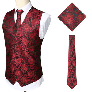 Image 3 - 3pc Sets/Mens Suit Vest+Tie+Pocket Square/Fashion Jacquard Paisley Tuxedo Vest Waistcoat Men/Wedding Vest/Prom Vest/Party Vest