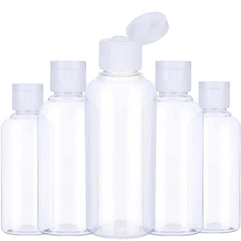 Портативная дорожная бутылка, 5 шт., 10 мл, 30 мл, 50 мл, 60 мл, 100 мл, пластиковые бутылки для путешествий, флакон для шампуня, косметический контейн...