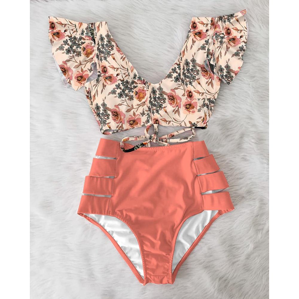 Ruffle Swimwear Bikinis Bathing-Suits Beach-Wear Print Push-Up Floral High-Waist Plus-Size