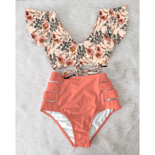 Hoge Taille Bikini 2021 Ruche Badmode Vrouwen Print Sexy Badpak Push Up Bikini Plus Size Badpakken Bloemen Beach Wear
