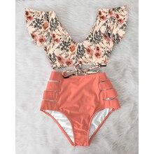 High Waist Bikini 2021 Ruffle Swimwear Women Print Sexy Swimsuit Push Up Bikinis Plus Size Bathing Suits Floral Beach Wear