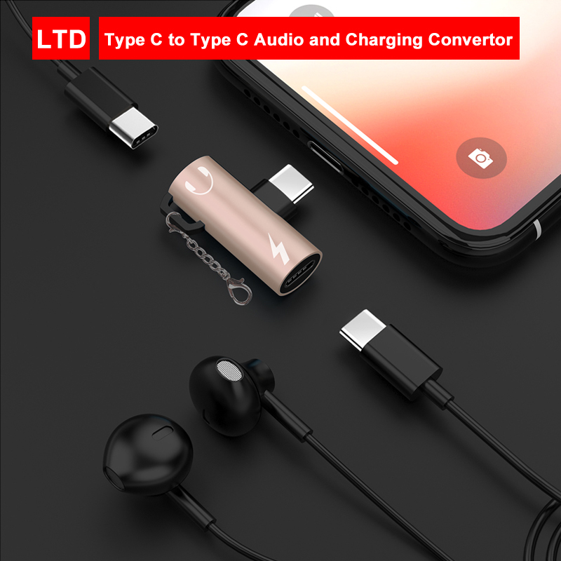 2 In 1 Type-C To Audio And Charging Adapter Connector For Honor Magic 2/Honor 20/Honor 20 Pro/Honor Note 10 For Xiaomi Mi8/Mi9