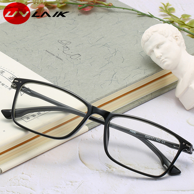 UVLAIK TR90 Student Myopia Glasses Ultra-light Frame Rectangle Optical Men Women Myopia Glasses Frame Degree Span 1.0 1.5 2.0