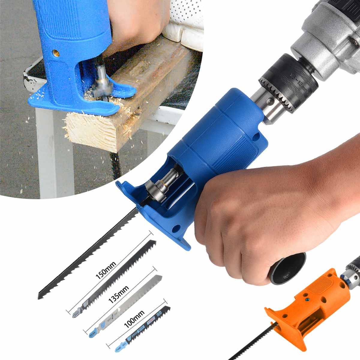 Reciprocating Saw Attachment Adapter Change Electric Drill Into Reciprocating Saw for Wood Metal Cutting