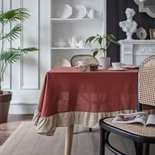 Контраст Цвет свежий рюшами скатерть элегантная на стол для