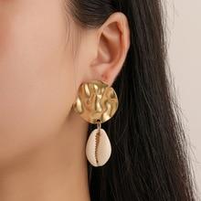 Bohemian Natural Sea Shell Drop Earrings For Women 2019 Fashion Statement Gold Cowrie Pendant Dangle Earring Boho Ladies Jewelry цена