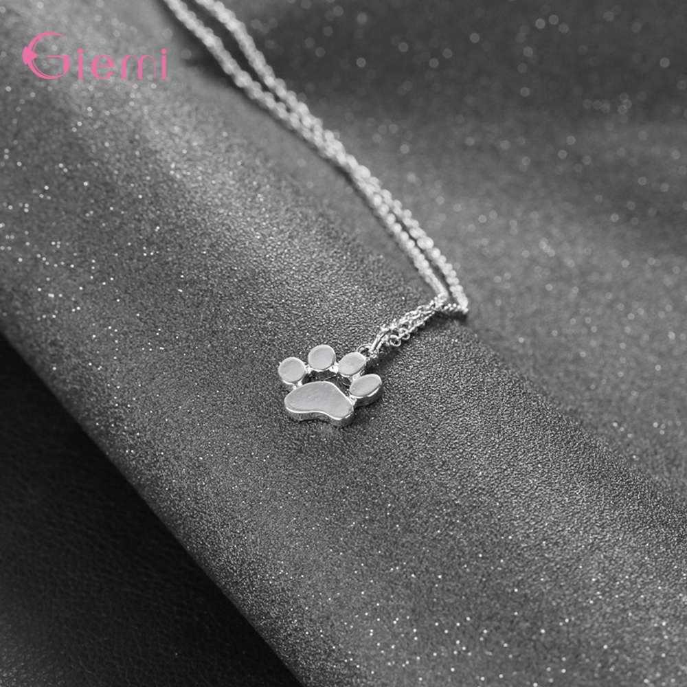 قلادة رائعة من الفضة الخالصة عيار 925 مصنوعة من مخالب الكلب للسيدات والفتيات مجوهرات عصرية على أحدث طراز هدية سلسلة قلادة بيجو