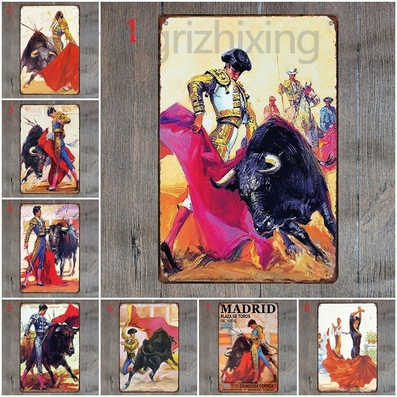 ><font><b>Spanish</b></font> Bullfighter Metal Sign Retro <font><b>Style</b></font> Metal Wall Plaques <font><b>Spanish</b></font> Bullfighting Iron Painting Wall Decoration for Room <font><b>House</b></font>