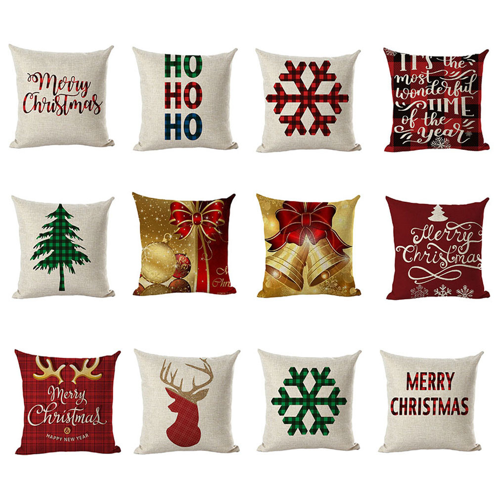 Merry Christmas Pillow Cases Linen Sofa Cushion Cover Hotel Home Decor Modern Fashion Pillow Cover Bed Decorative Dropshipping/C