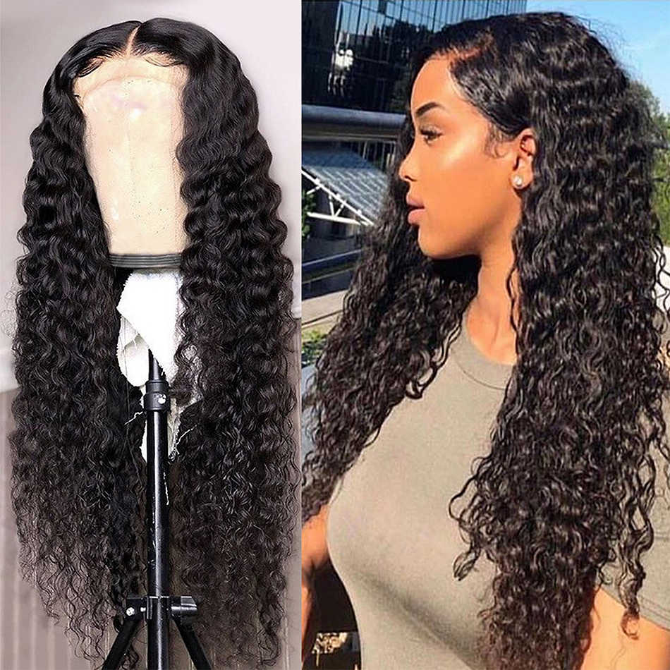 Links 13X6 Lace Front Human Hair Wigs 28 30 40 Inch Deep Wave Brazilian Remy Hair Pre plucked Water Curly Lace Frontal Wig