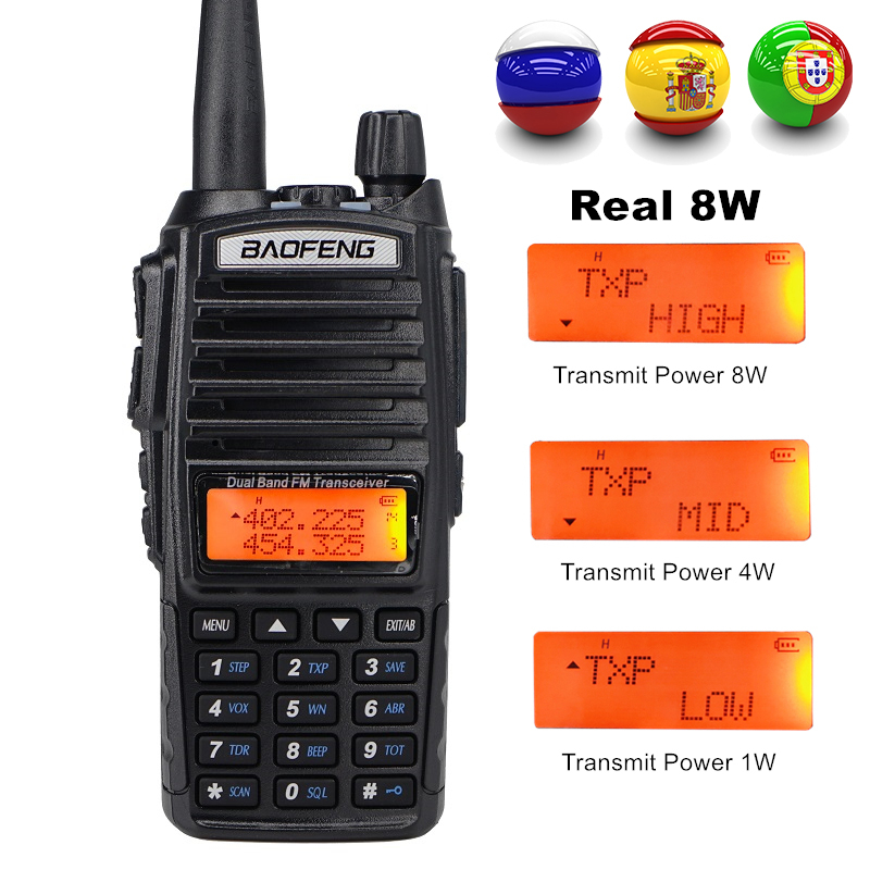 8W Dual Band Walkie Talkie 10km Baofeng UV-82 FM Transceiver Portable CB Ham Radio 128CH VHF/UHF UV 82 Two Way Radio 2800mAh