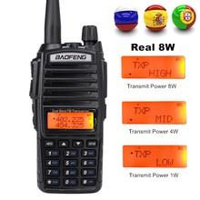 цена на 8W Dual Band Walkie Talkie 10km Baofeng UV-82 FM Transceiver Portable CB Ham Radio 128CH VHF/UHF UV 82 Two way Radio 2800mAh