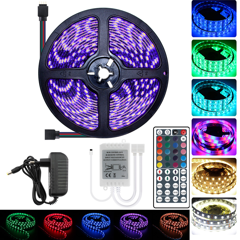RGB RGBW RGBWW 5M 10M 15M LED Strip Light 12V 5050 RGB Waterproof Black Light Flexible Neon Tape Controller Power Adapter Kit