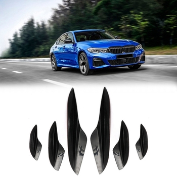 NEW-Universal Car Front Bumper Fins Splitter Canard Lip Spoiler For-BMW E90 E92 E93 M3 05-12 image