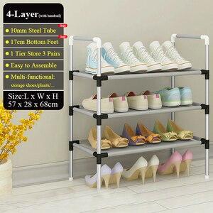 Image 5 - Range chaussures en métal facile à monter, étagère de rangement pour chaussures, baskets, support Portable peu encombrant, organiseur de chaussures avec main courante