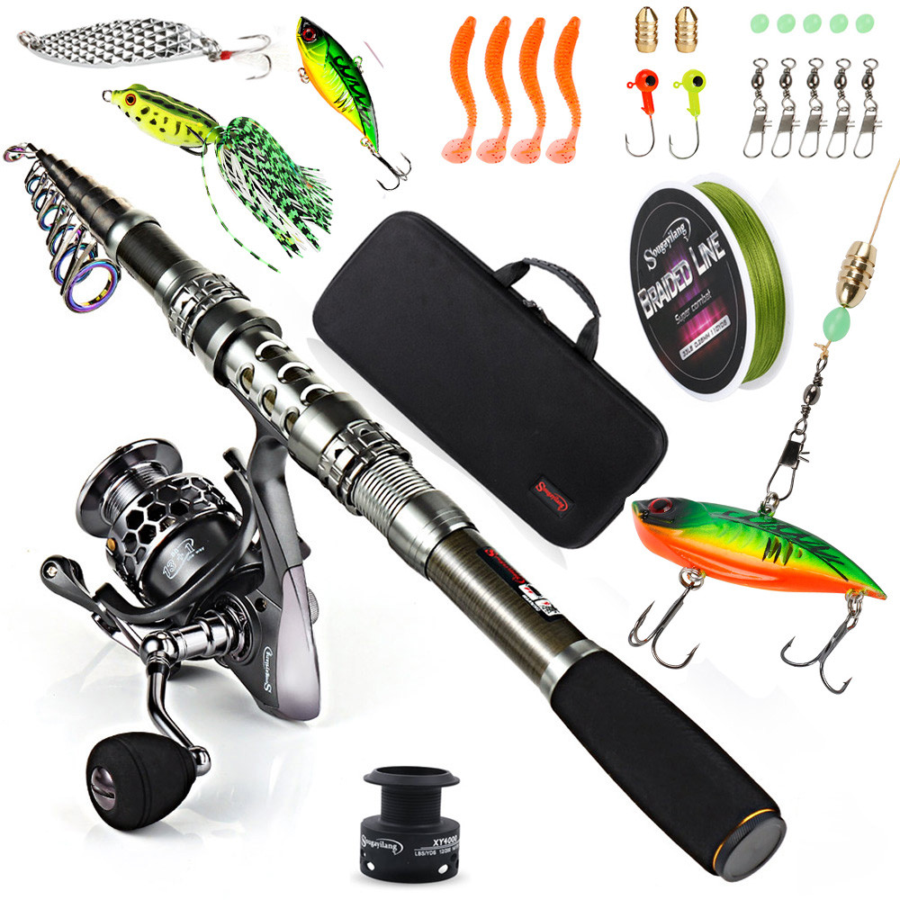 Sougayilang Telescopic Fishing Rod With Spinning Reels Combos Fishing Reel Pole Lure Line Bag Sets Kit For Travel Fishing Tackle-in Fishing Rods from Sports & Entertainment    1