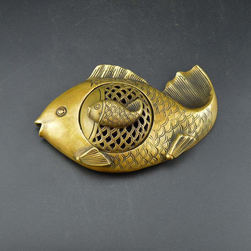 Seiko Chinese Old Collection Copper Pisces Double Fish Ashtray Sculpture Beautiful Incense Burner Censer Statue title=