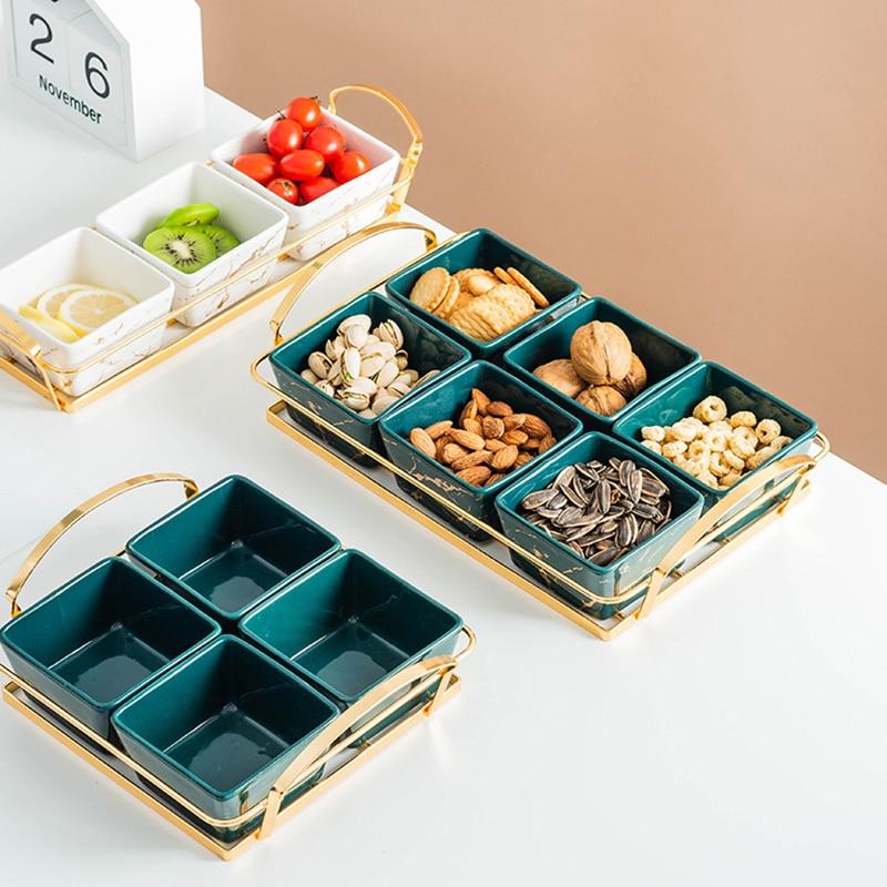Luz de luxo criativo cerâmica frutas secas prato de doces serveware lanche bandeja, serveware servindo tapas pratos nozes azeitonas