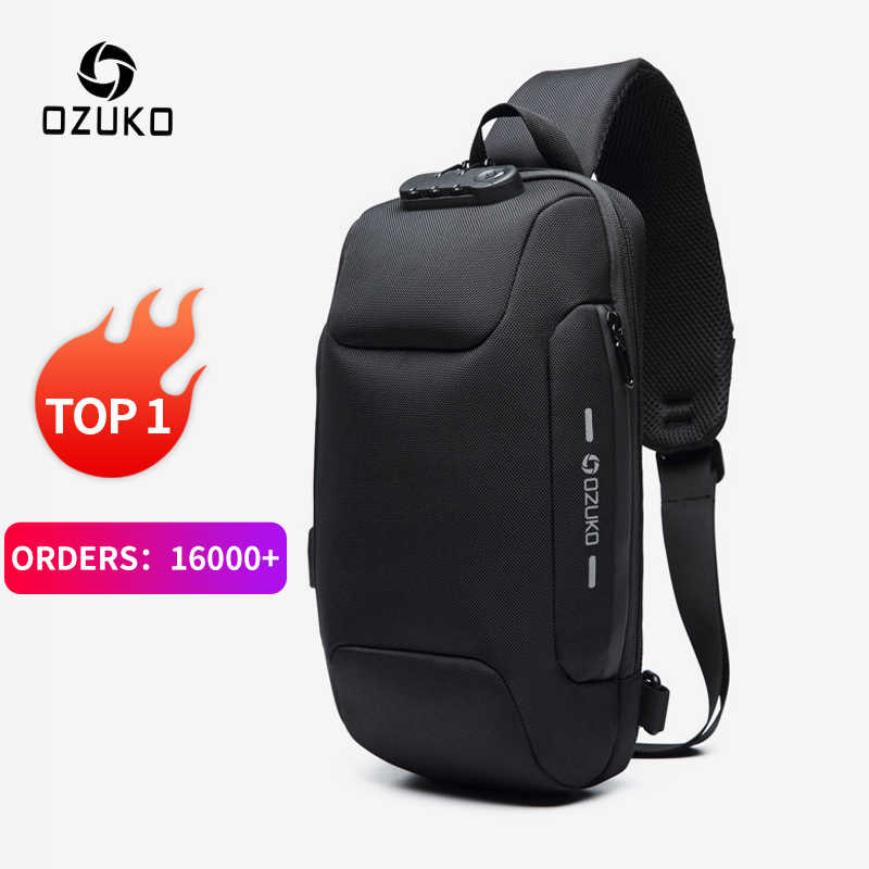 OZUKO 2019 новая многофункциональная сумка через плечо для мужчин, противоугонная сумка через плечо, Мужская водонепроницаемая короткая сумка на грудь
