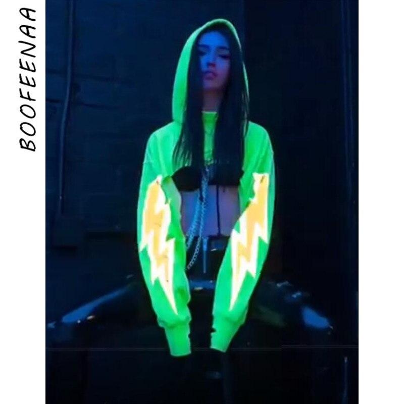 BOOFEENAA Reflective Lightning Graphic Cropped Hoodies Women Autumn Trendy Oversized Sweatshirts With Chain Neon Yellow C70-AG98