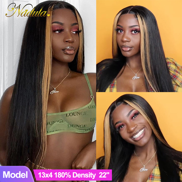 $ US $56.60 Nadula Hair 13*4 Lace Front Wigs For Women Highlight Lace Front Human Hair Wig Brazilian Straight Lace Frontal Wig Highlight Wig