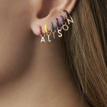New Design Jewelry Creative Custom Earrings Women Fashion Simple Drop Oil Copper Number 26 Letters Stud Earrings