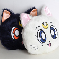 25X21cm 3color Anime Sailor Moon Luna Cat Printed Plush Purse Stuffed Shoulder Crossbody Bag Phone Wallet Coin Purse Cosplay Bag