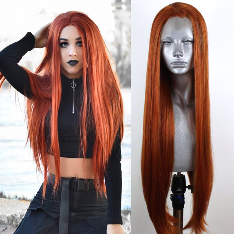 RONGDUOYI Heat Resistant Fiber Silky Straight Brown Synthetic Lace Front Wigs For Women Side Part Long Glueless Lace Cosplay Wig