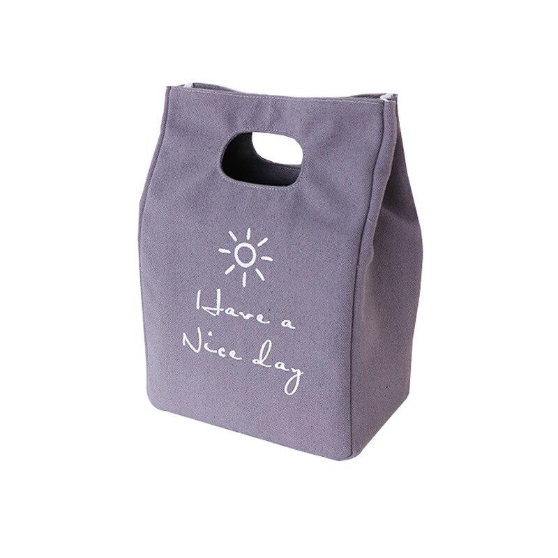 재사용 가능한 알루미늄 호일  방수 점심 토트가있는 절연 된 점심 가방 인쇄 된 캔버스 학교에서 학생과 성인을위한 휴대용-에서가방 & 바스켓부터 홈 & 가든 의 title=