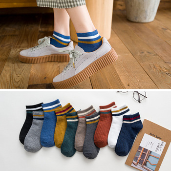 1 Pair Women Socks Cotton Ankle College Style Short Striped Colorful Comfortable Cool - discount item  23% OFF Women's Socks & Hosiery