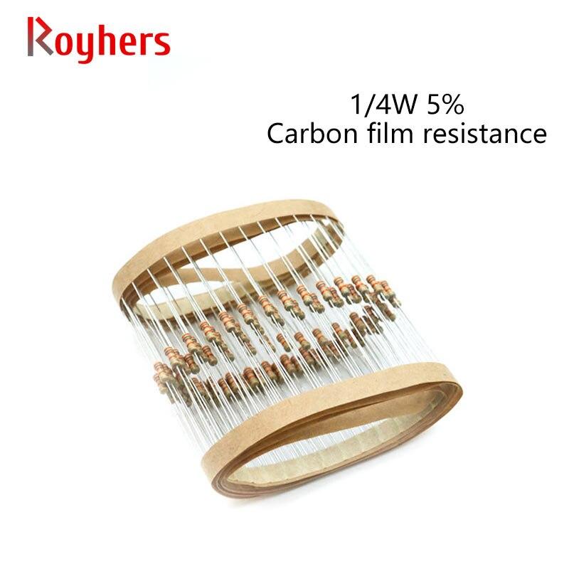 Набор карбоновых пленочных резисторов 100 шт. 1/4 Вт 0R-22M 5% Допуск 43R 51R 56R 82R 100R 150R 200R 220R 270R 2 Ом Сопротивление электроники