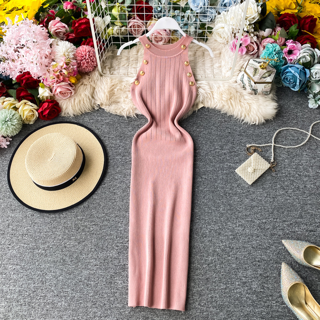 ALPHALMODA 2020 Summer Women Fashion Buttons Knit Dress Sleeveless Pullovers Ladies Slim Solid Knitting Dress 3