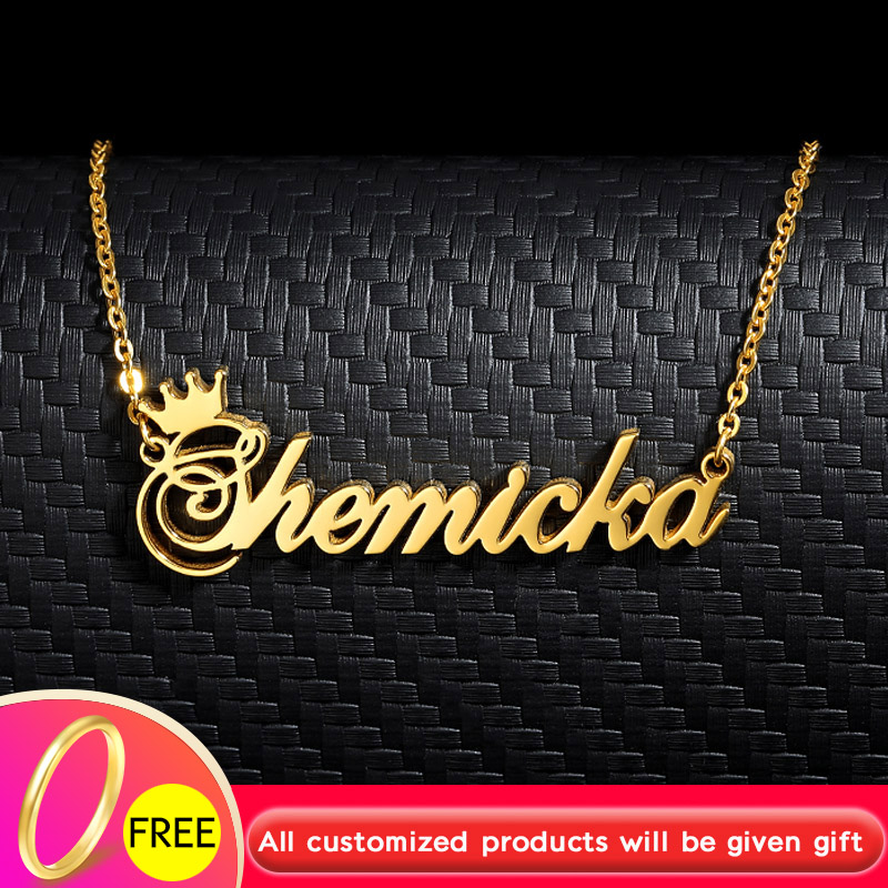 Gold Silver Nameplate Necklace Women Collares Mujer Personalized Chain Stainless Steel <font><b>Ketting</b></font> Crown Choker Necklace <font><b>BFF</b></font> Jewelry image