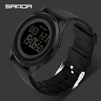 SANDA Uhr 9mm Super Dünnen männer Uhr Luxus Elektronische LED Digital Uhren für Mann Uhr Männliche Armbanduhr Relogio masculino 337