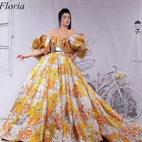 Special Fabric Middle East Celebrity Dresses 2019 Off Shoulder Kaftan Evening Dress Long Court Train Red Carpet Party Gowns