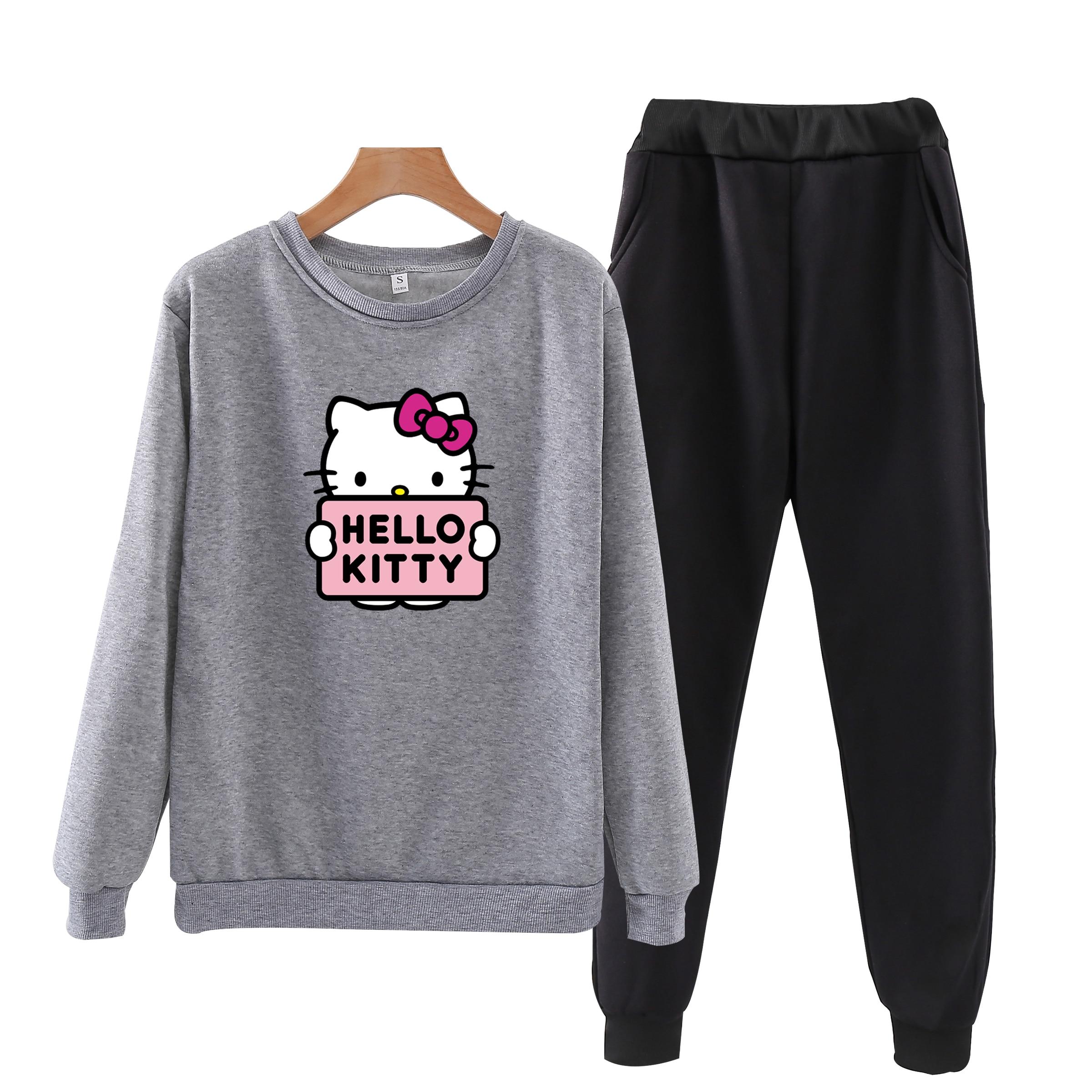 P106 Hello-kitty Autumn Tracksuit Long Sleeve Sweatshirts 2 Piece Set Casual Sport Suit Women Tracksuit Set