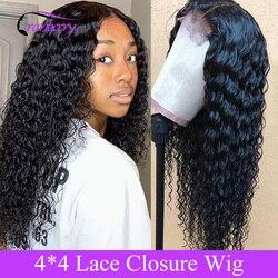Волнистые волосы 4X4, парик с глубокой волной, перуанские волосы на шнурке, 100% натуральные волосы Remy для черных женщин, 10-26 дюймов