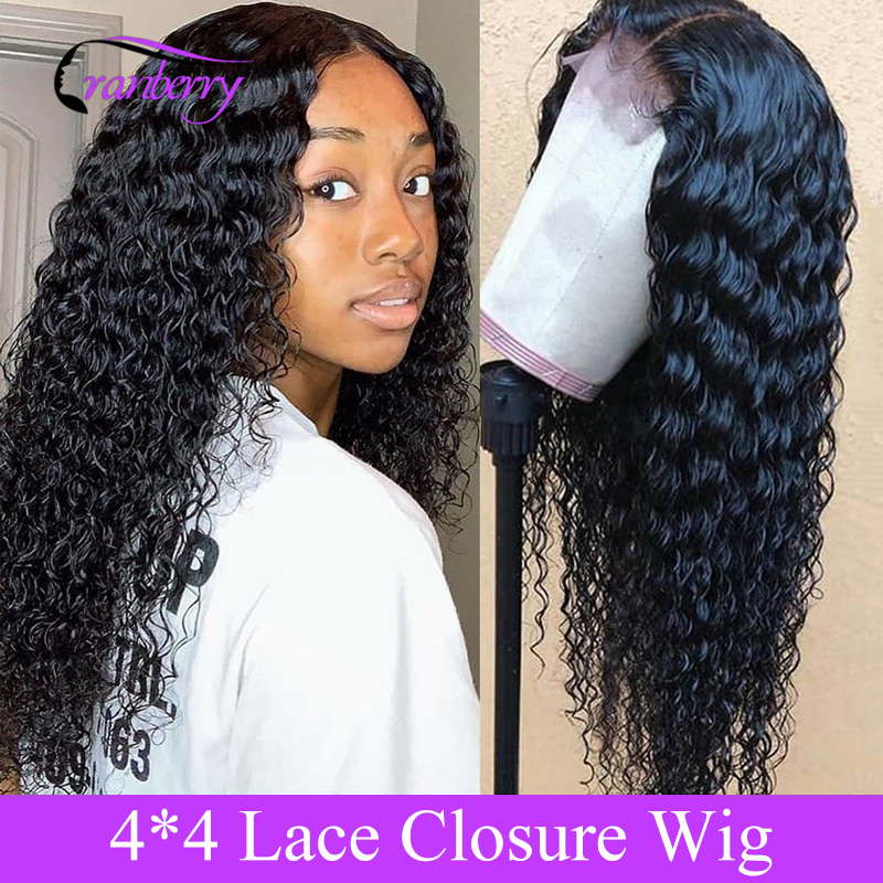 Cranberry Hair 4X4 Closure Wig Deep Wave Wig Peruvian Hair Lace Closure Wig 100% Remy Human Hair Wigs For Black Women 10-26 Inch