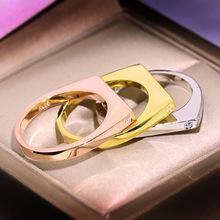 Gorąca sprzedaż geometryczny pierścionek proste dwa Bar okrągłe pierścienie dla kobiet ze stali nierdzewnej proste różowe złoto matowe wesele pierścienie tanie tanio similanka Miedziane Kobiety Cyrkonia Z wystającym oczkiem Klasyczny Obrączki ślubne GEOMETRIC zaręczyny Zgodna ze wszystkimi